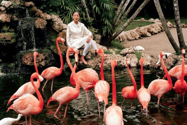 michele with flamingos